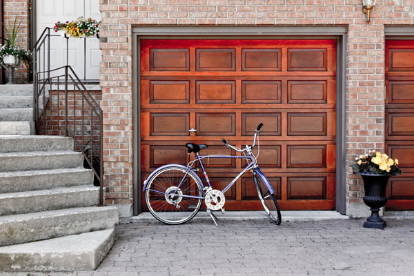 bike in front of beautiful garage door