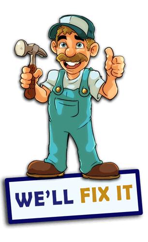 sure fix garage door repair logo with banner