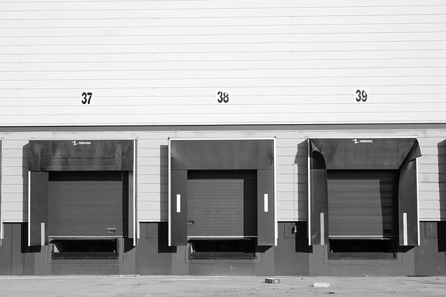 Three warehouse garage doors