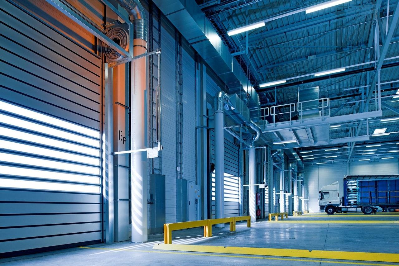 Warehouse garage doors empty