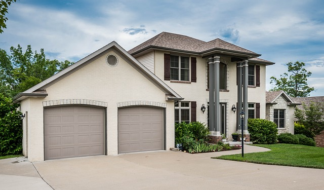 Contemporary home with two garage doors
